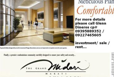SALE / RENT CONDOMINIUM 5 STAR ETC. IN MAKATI CENTRAL BUSINESS DISTRICT HE GRAND MIDORI MAKATI
