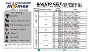 Lyn's Baguio Transient Home Rates